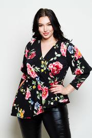 Plus Size Pretty In Floral Surplice Asymmetrical Top