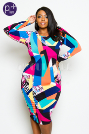 Plus Size Long Sleeved Multi-Colored Geometric Tube Dress