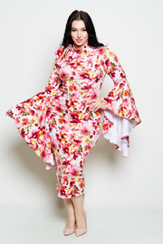 Plus Size Pretty In Floral Flounced Sleeved Midi Tube Dress