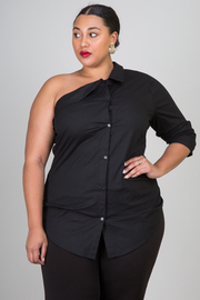 Plus Size One Shoulder Button Down 3/4 Sleeved Shirt