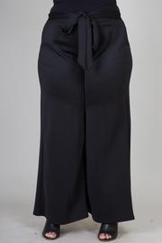 Plus Size Solid Palazzo Tie Waist Pants