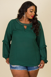 Plus Size Keyhole Embellished Sheer Ruffled Trim Long Sleeved Blouse