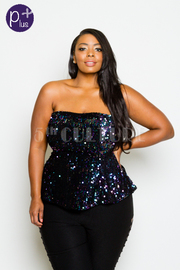 Plus Size Strapless Sequin Mini Glam Shimmer Top