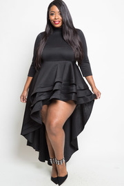 Plus Size 3/4 Sleeved Layered Hi Low Tango Dress