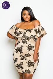 Plus Size Off Shoulder Floral Velvet Tube Dress