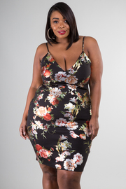Plus Size Sexy Foil Floral Tube Dress