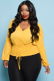 Plus Size Long Sleeved Tie Up Smocked Top