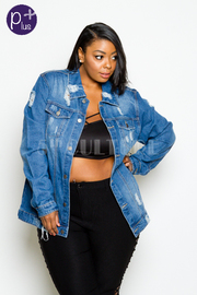 Plus Size Checkered Back Denim Distressed Jacket