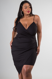 Plus Size Surplice Overlap Sexy Club Bodycon Dress
