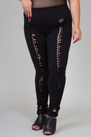 Plus Size Tie Up Solid Leggings
