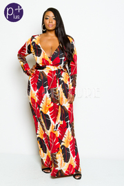 Plus Size Surplice Fall Leaved Long Sleeved Maxi Dress