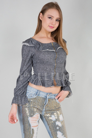 Cold Shoulder Zip Down Crop Long Sleeved Top