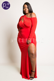 Plus Size Off Shoulder Keyhole Long Sleeved Maxi Dress