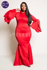 Plus Size Mermaid Maxi Dress With Stylish Flower Cuff Petal Detail