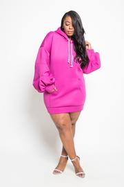Plus Size Street Stylish Ponti Hooded Dress