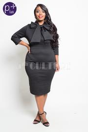 Plus Size Bow Tie 3/4 Sleeved Midi Dress