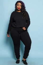 Plus Size Ruched Sleeved Sweater Pants Set