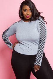 Plus Size Checker Sleeved Solid Sweater Top