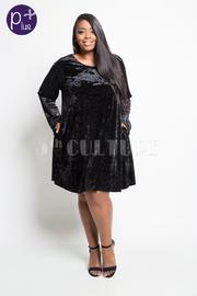 Plus Size Solid Velvet Pocket Tunic Dress