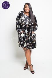 Plus Size Floral Velvet Tunic Dress
