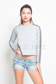 Checker Sleeved Solid Top
