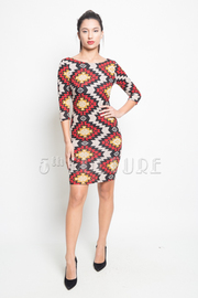 Aztec 3/4 Sleeved Tunic Dress