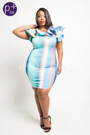 Plus Size Watercolor Striped Cascade Classy Tube Dress