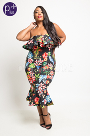 Plus Size Strapless Tropical Floral Mermaid Tube Dress