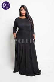 Plus Size Little Miss Black Tie Waist Maxi Dress