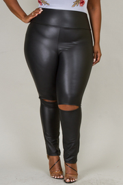 Plus Size Ripped Knee Faux Leather Leggings