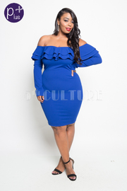 Plus Size Off Shoulder Ruffle Flounced Long Sleeved Bodycon Dress