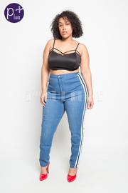 Plus Size Sporty Lined Hi Waist Skinny Denim Jeans