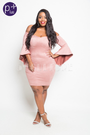 Plus Size Bell Sleeved Suede Bodycon Tube Dress