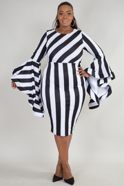 Plus Size Mixed Striped Bell Sleeved Bodycon Dress