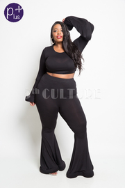Plus Size 2-Piece Bell Bottom & Cropped Bell Sleeved Classy Set
