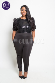 Plus Size Bubble Sleeved Sequin & Solid Glam Jumpsuit