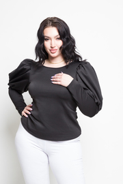 Plus Size Simple Chic Bubble Long Sleeved Top