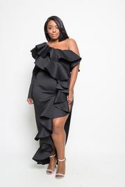 Plus Size One Shoulder Flirty Cascading Ruffles Slit Side Maxi Hi Lo Scuba Dress