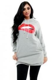 Plus Size Red Lips Graphic Hoodie Sweater
