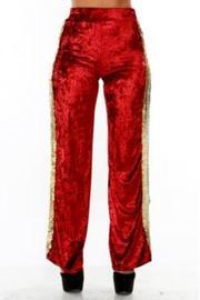Plus Size Sequin Side Velvet Glam Flared Pants