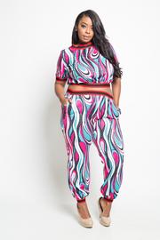 Plus Size Trendy Design 2-Piece Fashion Cropped Jogger Set
