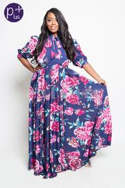 Plus Size Self-Tie Maxi Roses Flowy Dress