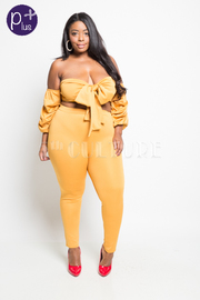 Plus Size Tie Up Bubble Sleeved Cropped Pants Set