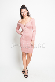 Suede Sexy Bodycon Zip Down Dress