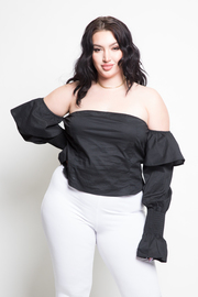 Plus Size Off Shoulder Ruffled Long Sleeved Classy Top