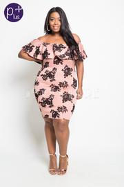 Plus Size Off Shoulder Floral Velvet Flounce Dress