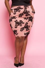 Plus Size Velvet Roses Pencil Skirt