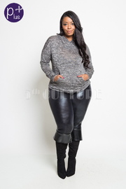 Plus Size Fall Style Marled Pouch Hooded Top