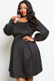 Plus Size Bubble Long Sleeved Skater Dress
