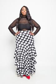 Plus Size Polka Dot In Fashion Ruffle Layered Maxi Skirt